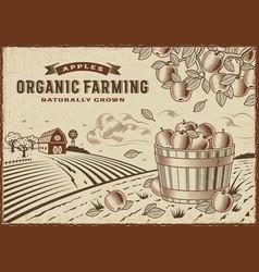 Apple organic farming landscape vector