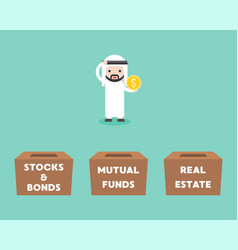 Arab businessman choosing box for investment vector