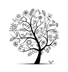 Art floral tree black for your design vector image