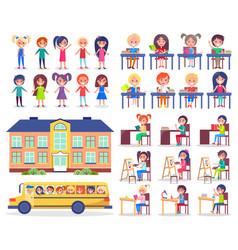 back to school concept little children vector image