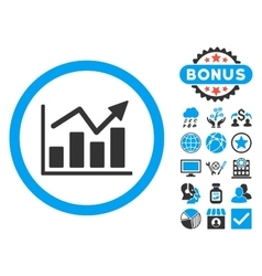 Bar Chart Trend Flat Icon with Bonus vector image