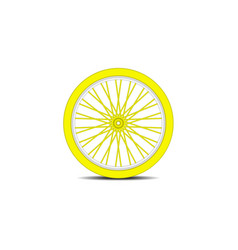 bicycle wheel in yellow design with shadow vector image