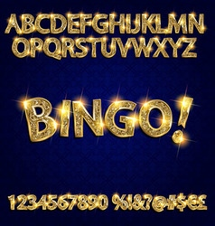 Bingo Golden glowing alphabet vector image