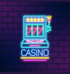 bright neon gaming slot machine flat vector image