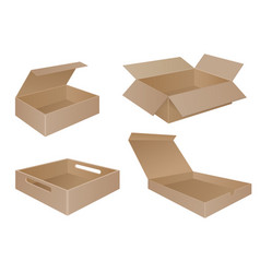 Brown cardboard boxes collection vector