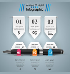 Business infographics pen icon vector