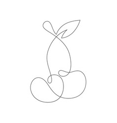 cherry continuous line drawing element isolated vector image