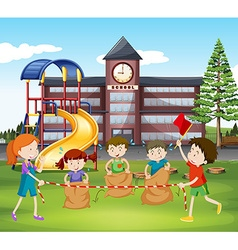 Children jumping sacks at school vector