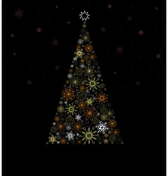 Christmas Fir tree from colored snowflakes vector