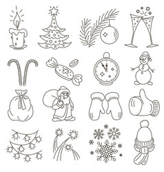 christmas or new year line style set vector image