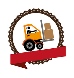 circular emblem with ribbon and forklift truck vector image