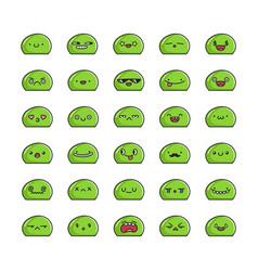 Collection kawaii slime monster emoticons vector