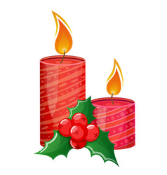 Colorful christmas candle and holly vector