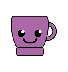 Colorful smile coffee cup kawaii cartoon vector