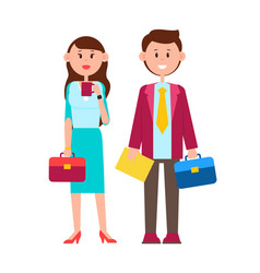 couple with briefcases poster vector image
