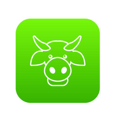 Cow head icon green vector