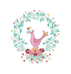 cute bird holding flower in a wreath vector image