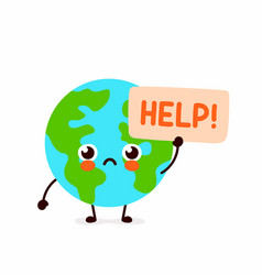 cute sad earth planet ask help vector image