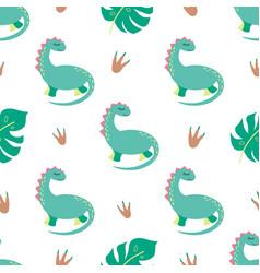 Dinosaur seamless pattern cute dino print in green vector