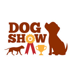 dog show advertising card brown dogs silhouettes vector image