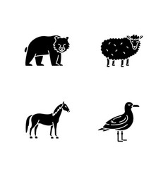 domestic and wild animals black glyph icons set vector image