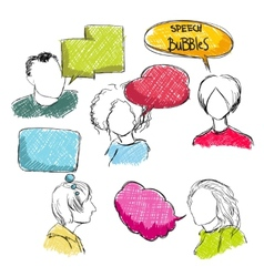 Doodle speech bubbles with men and women vector image