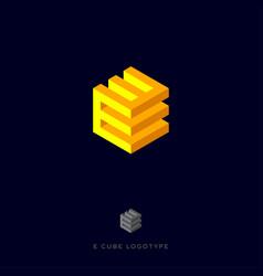 e cube yellow logo vector image