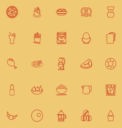 Easy meal orange color line icons vector