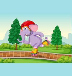 elephant playing roller skate in the park vector image
