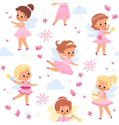 fairies seamless pattern cute winged girls young vector image