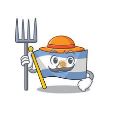 Farmer flag argentina cartoon shaped mascot vector