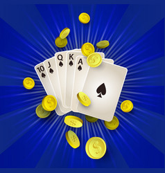 Flat royal flush in spades golden coins vector
