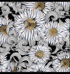 floral 3d seamless pattern ornamental vector image
