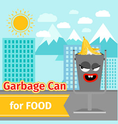 food trash can with monster face vector image