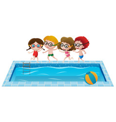 Four kids by the swimming pool vector