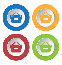 Four round color icons shopping basket minus vector