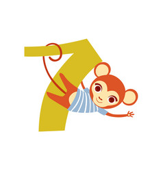 Funny cute monkey animal and number seven vector