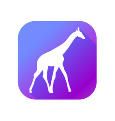 giraffe flat icon with long shadow pictogram vector image