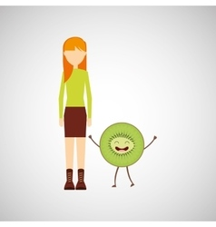 girl cartoon and kiwi cute fruit icon vector image vector image