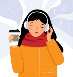 Girl with headphones listens to music and vector