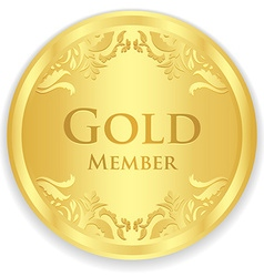 Gold member badge with golden vintage pattern vector