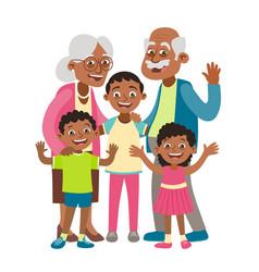Grandparents and three grandchildren portrait vector