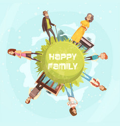 Happy family circular background vector