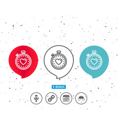 heart in timer line icon love symbol vector image
