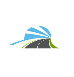 highway road isolated two lane pathway icon vector image