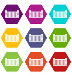 Home fence icon set color hexahedron vector