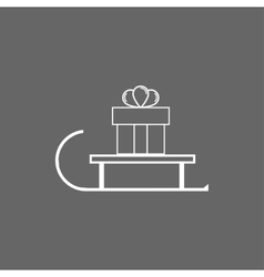 Icon boxes with gifts on sledge vector image