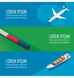 Isometric banners set of logistic process vector