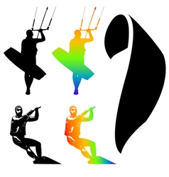 Kiteboarder set vector