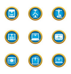 Land development icons set flat style vector